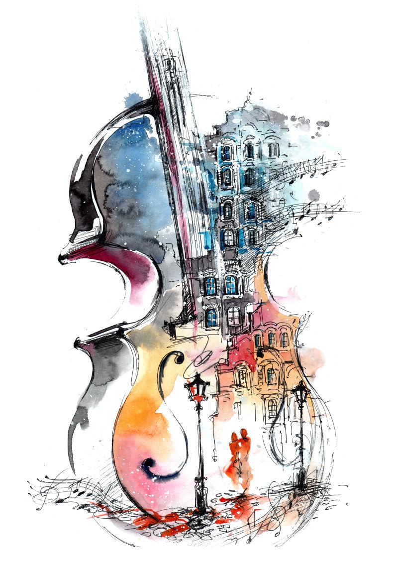 音乐与城市水彩画