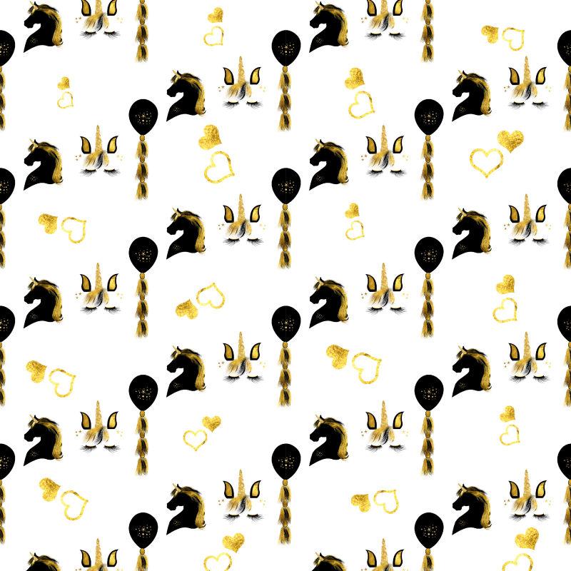独角兽抽象金色背景