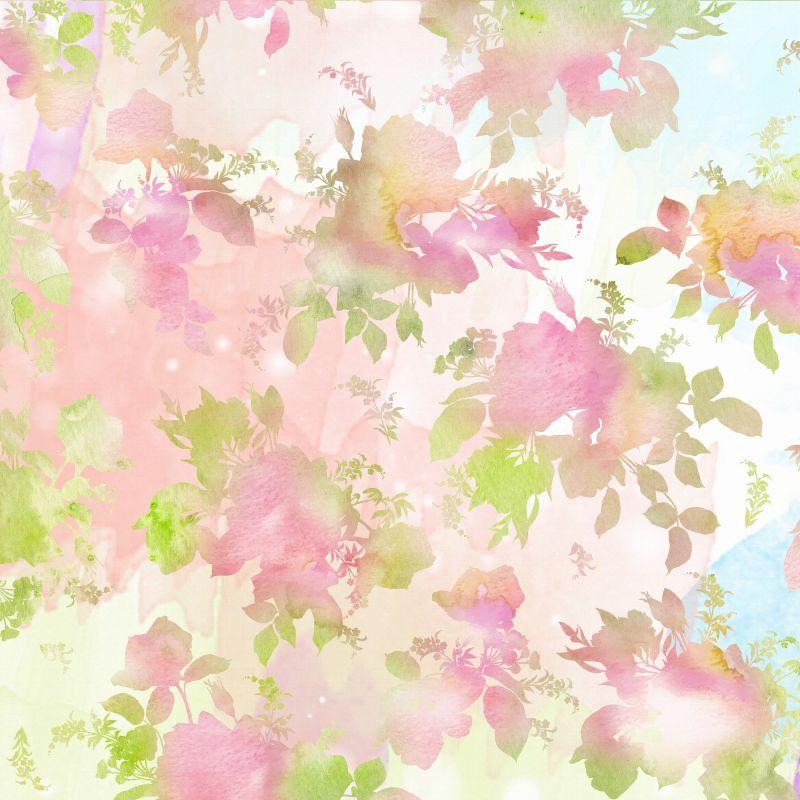 粉绿色花朵与叶子纹理
