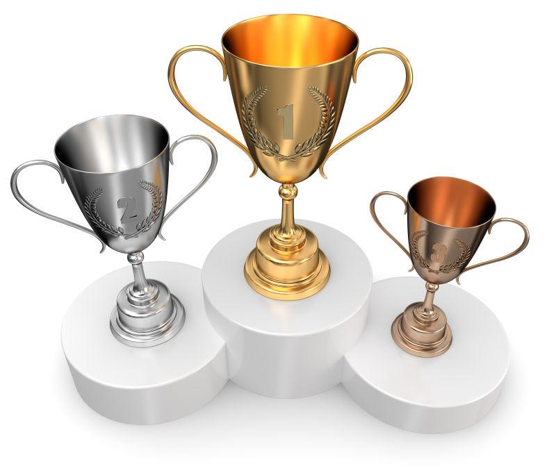 三种奖杯俯视效果