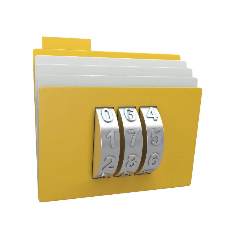 黄色文件夹上的密码组合锁
