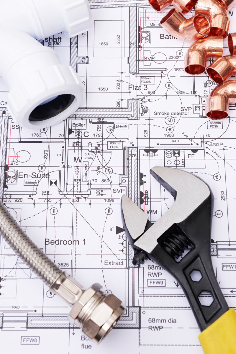 建筑设计平面图上的管道和配件