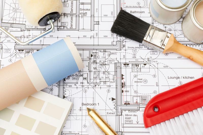 建筑设计草图上的装饰工具