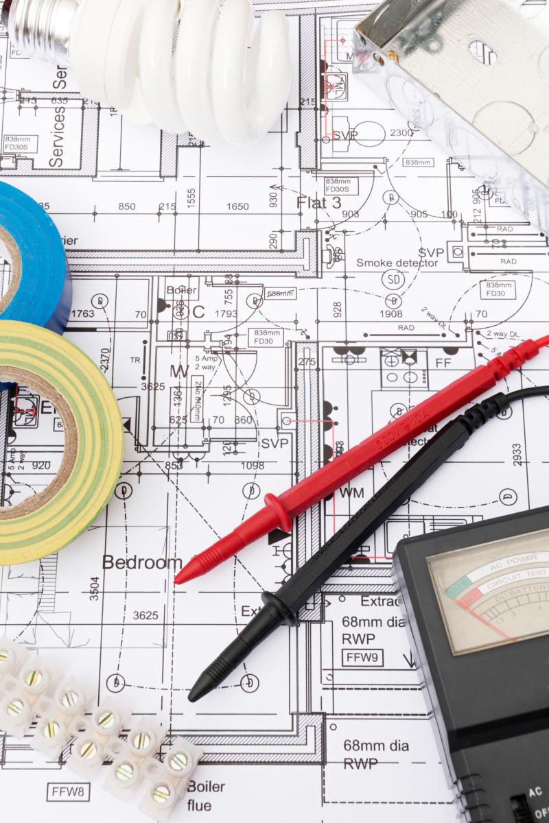 建筑设计平面图上的电气元件