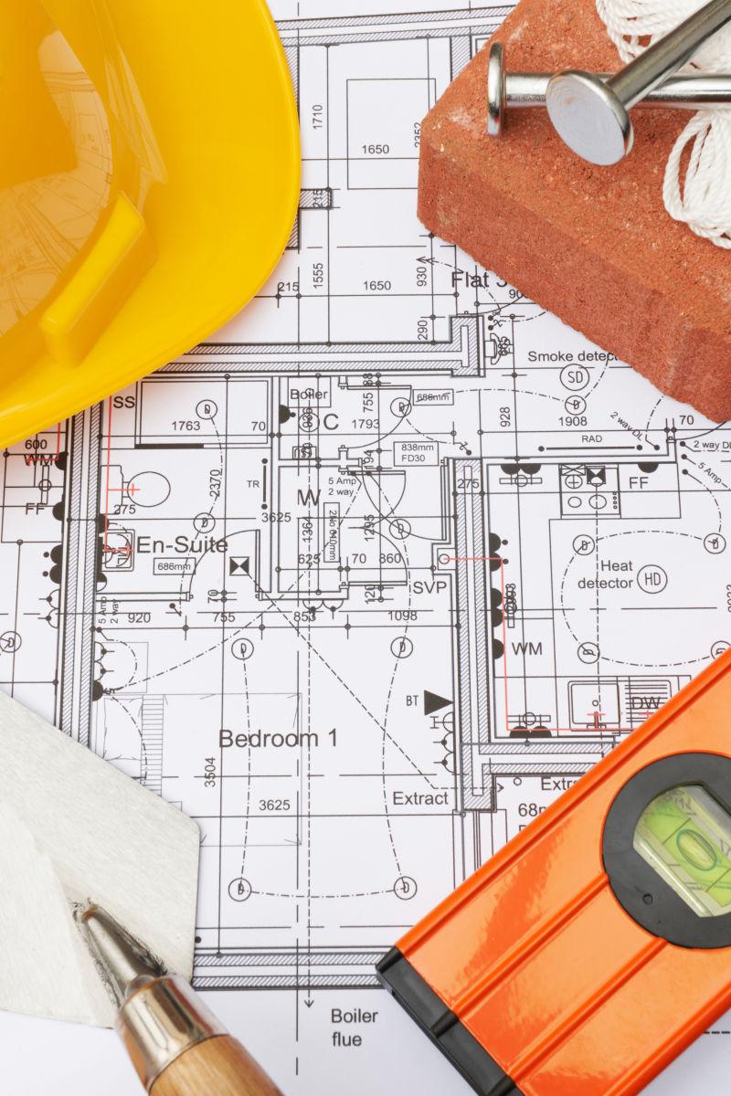 建筑设计平面图上的施工用工具