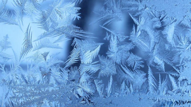 冬天的结霜的玻璃