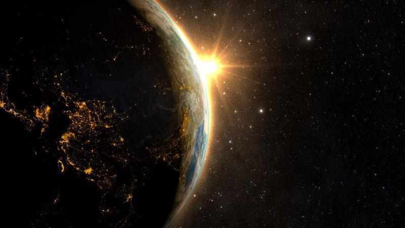 银河系日落时分壮观的地球
