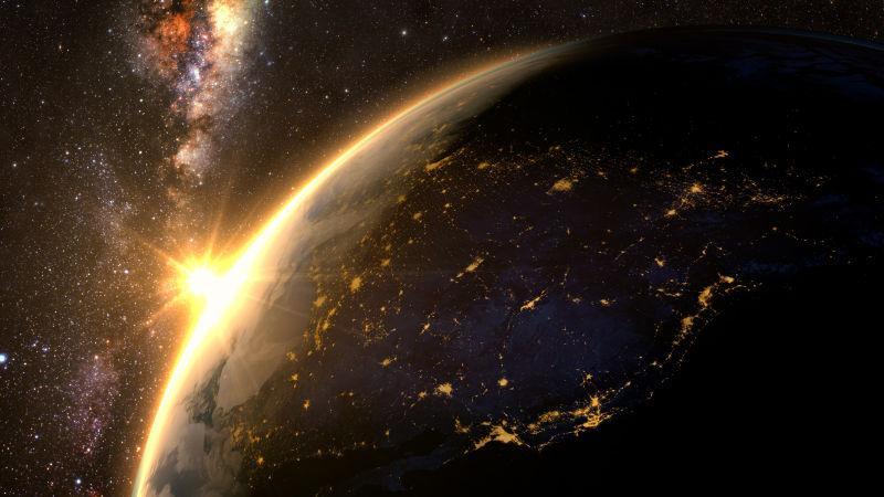 太空日落时壮观的地球景色
