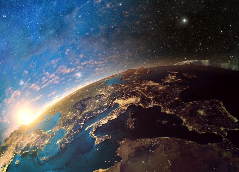 美丽的银河系日落时分的地球美景