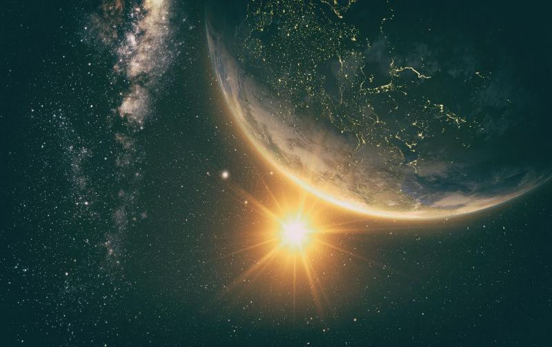 银河系日出时分的地球