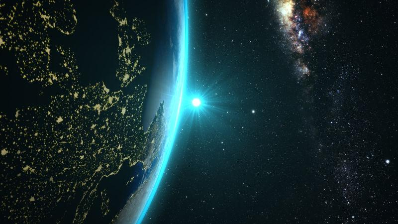 太空日落时分的地球