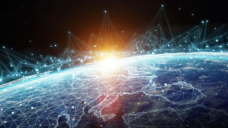 全球地球网络和数据交换地球图像3D渲染元素