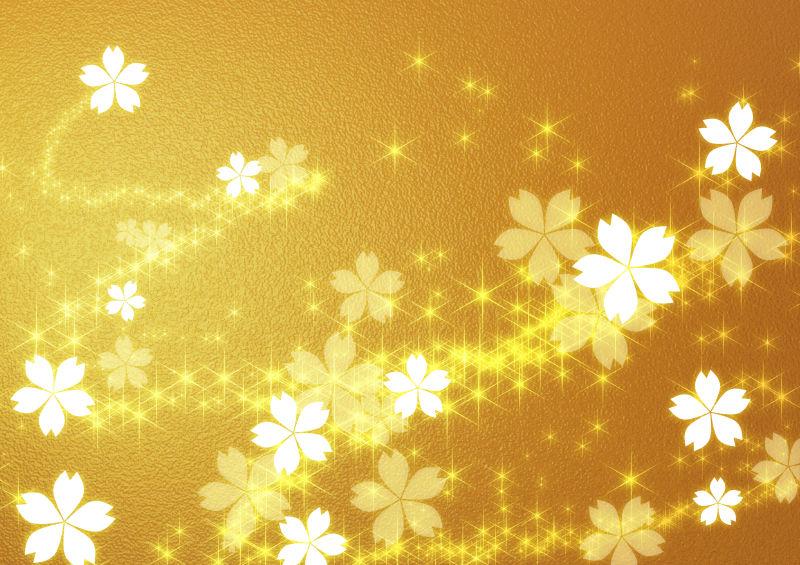 金色背景上的闪亮花型效果