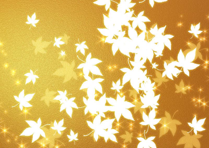 金色背景上的白色枫叶