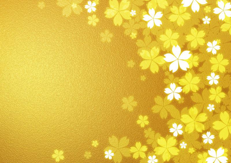 金色背景上的花型印