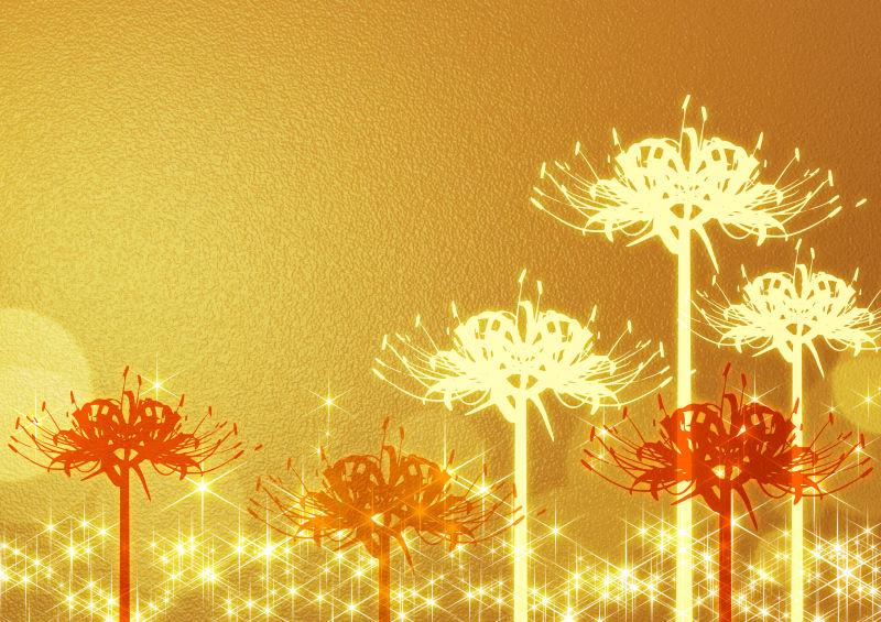 金色背景上的花型印花
