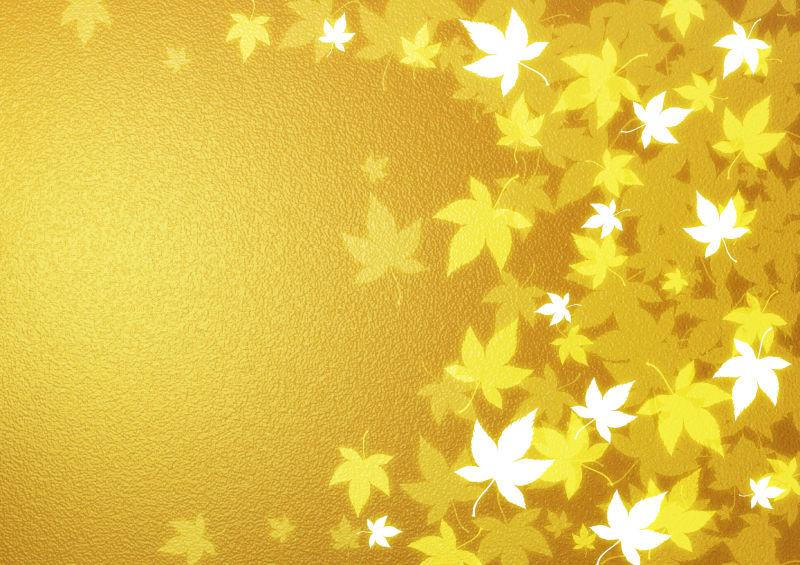 金色背景上的黄色枫叶