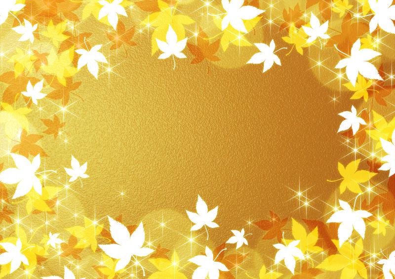 金色背景周边的枫叶