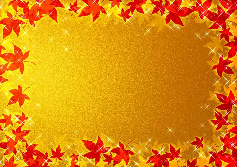 金色背景上的红色枫叶