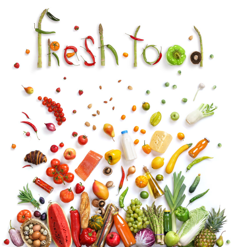 白色背景中不同的水果和蔬菜