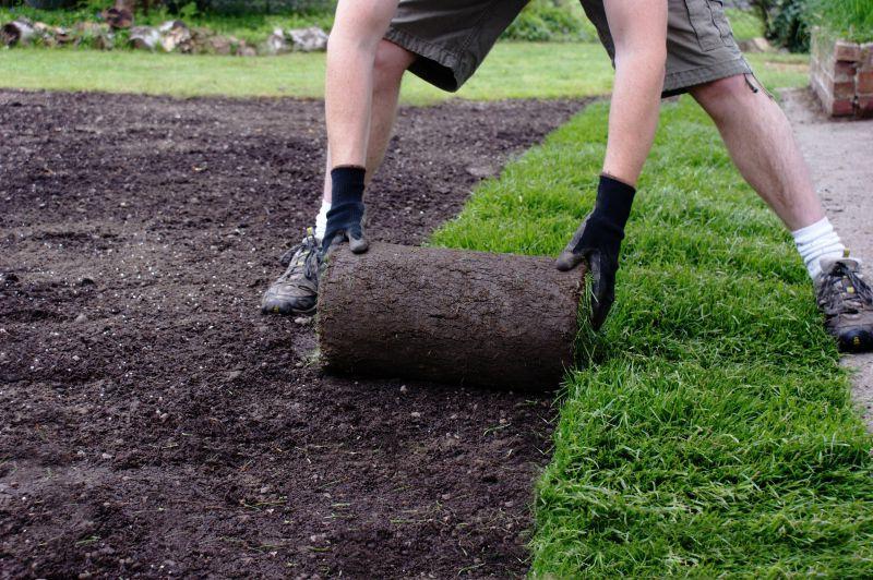 园丁铺设草坪
