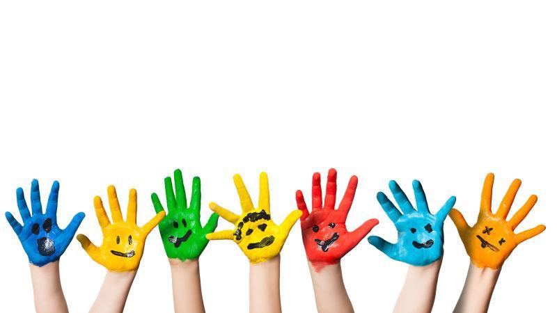 五颜六色的手掌彩绘