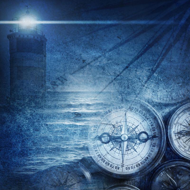 航海冒险主题的蓝色复古背景