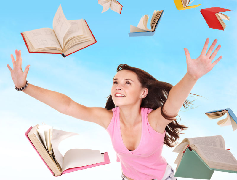 学生和空中的书