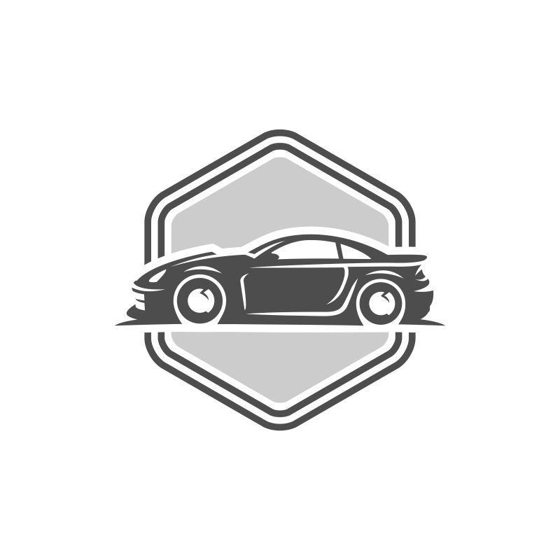 创意跑车矢量标志图标