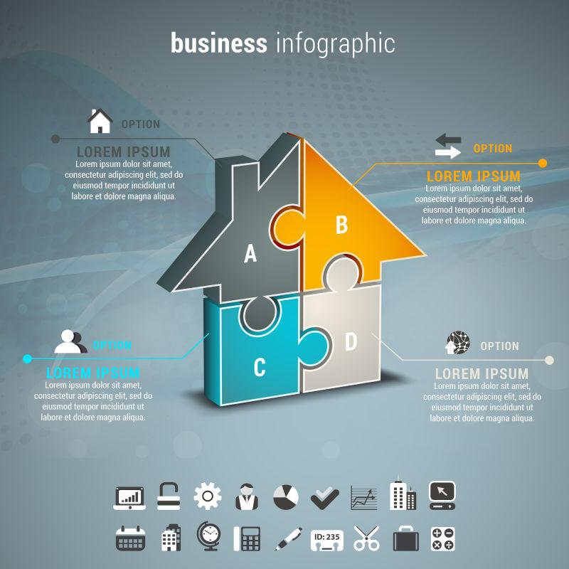 矢量图示的商业信息图表与房子的拼图