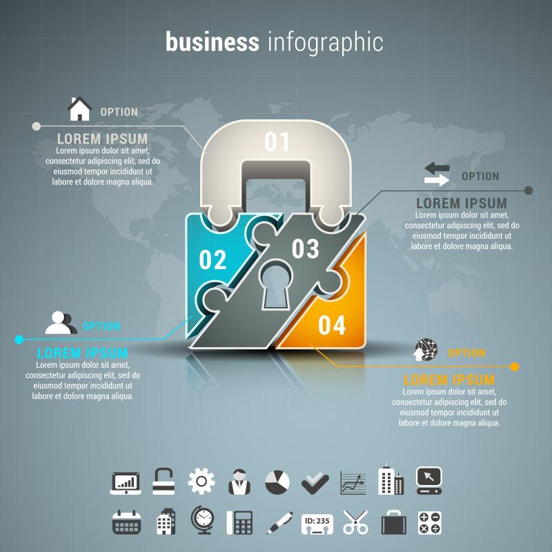 矢量插图的商业信息图表与挂锁拼图