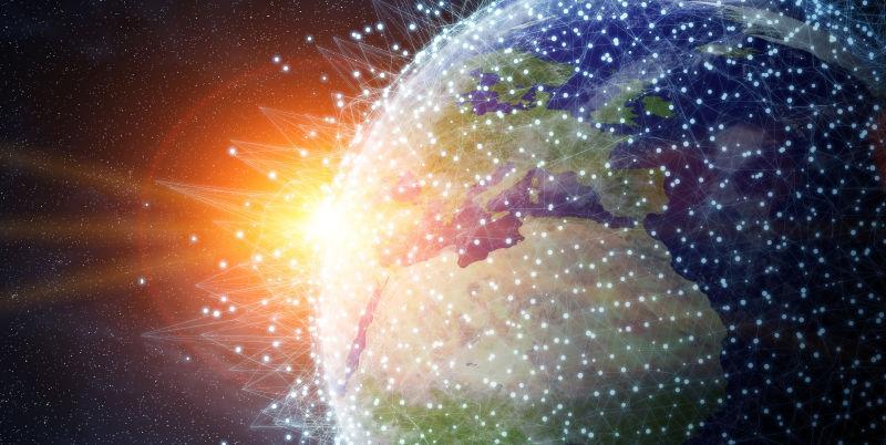 全球地球网络和数据交换地球图像概念