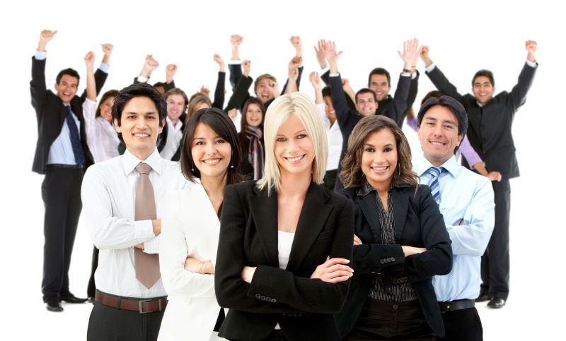 白色背景上非常快乐的商业团体
