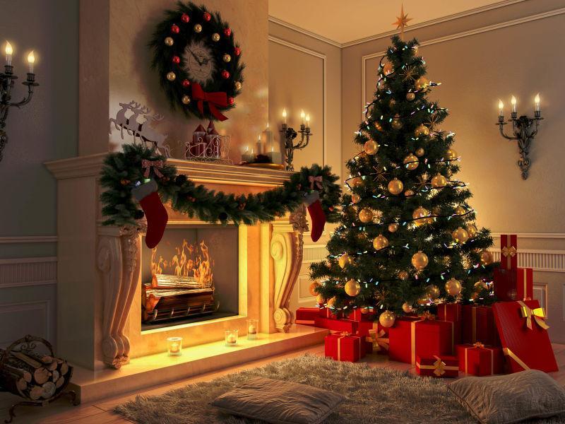 室内的圣诞树礼物盒和壁炉