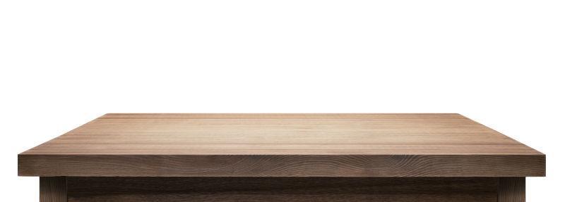 木制桌面白色背景