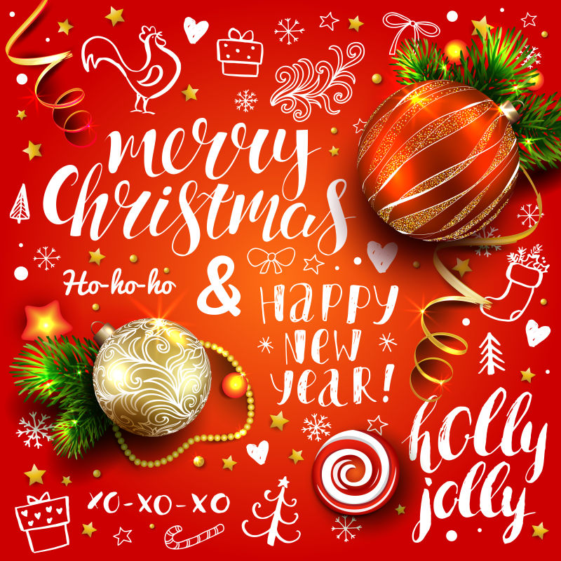 矢量红色有装饰元素的创意圣诞节海报设计
