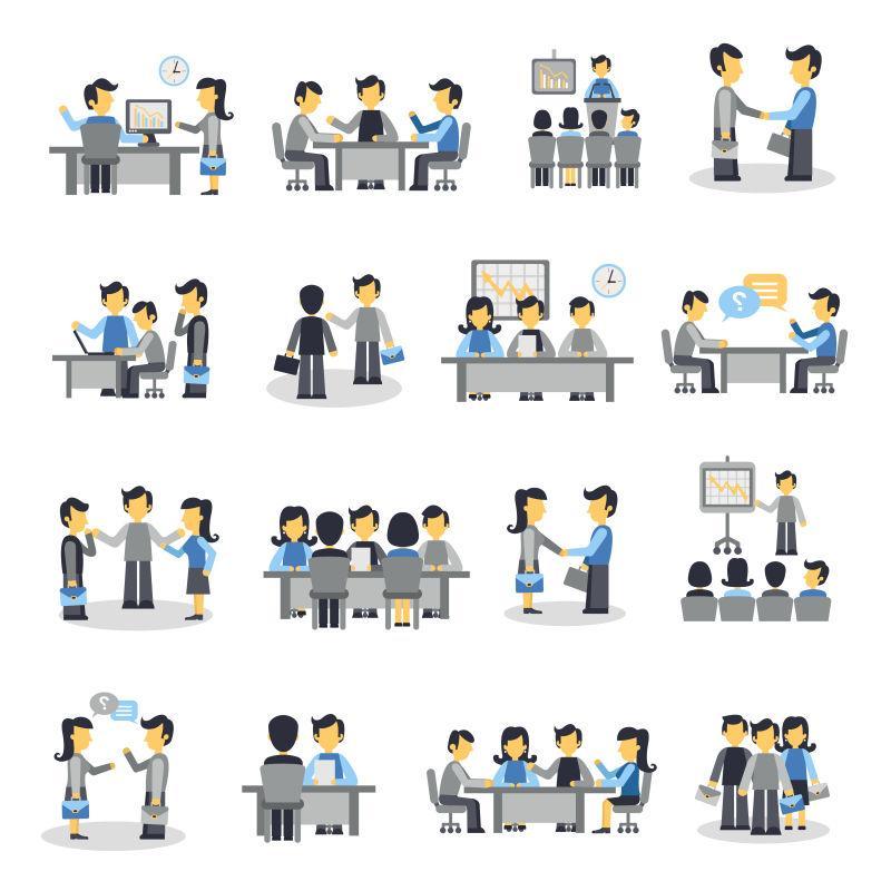 矢量会议图标集与商务人项目团队合作符号