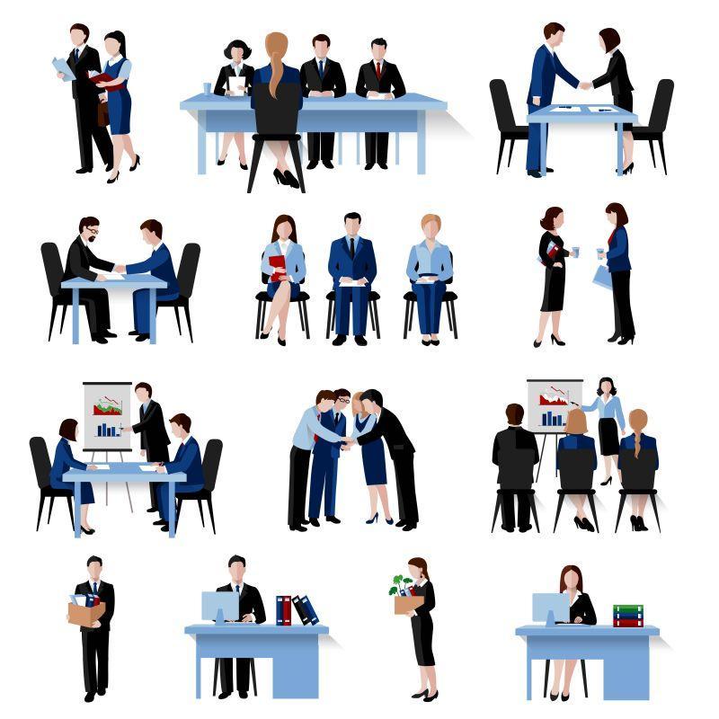 矢量人力资源人员甄选面试招聘培训策略扁平图标