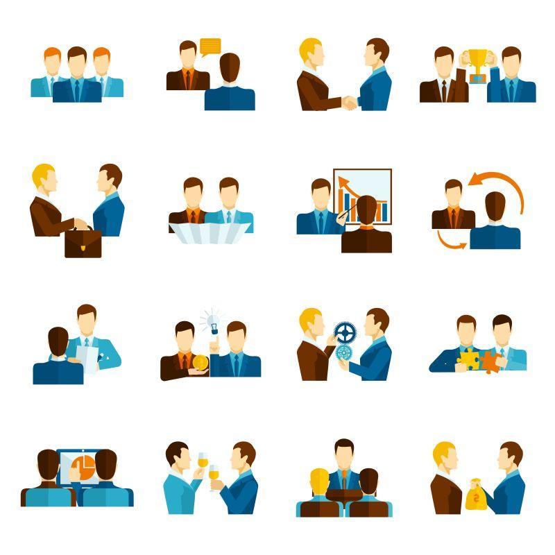 矢量商业伙伴关系团队管理与沟通平面图标集