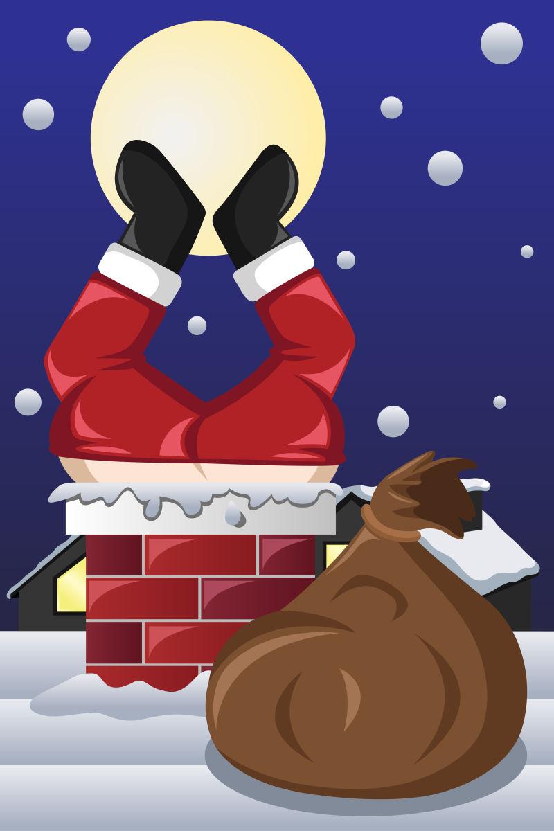 卡在烟囱上的圣诞老人矢量图