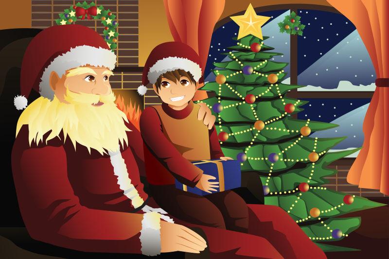 卡通圣诞老人和孩子聊天