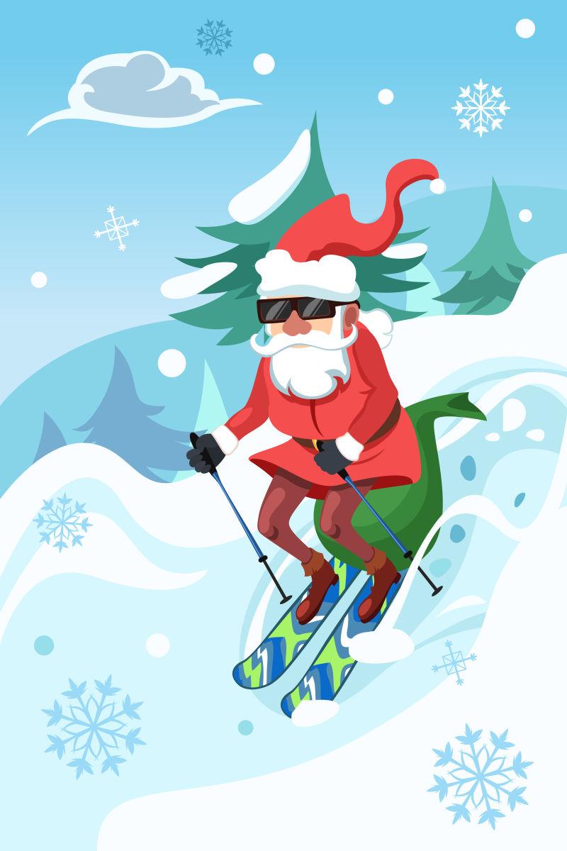 雪地上骑滑板的圣诞老人矢量