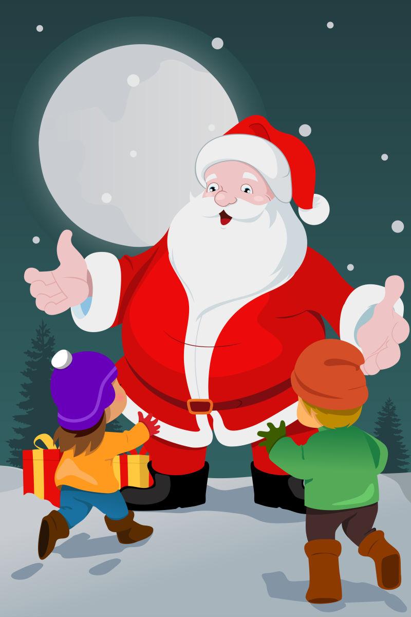 卡通圣诞老人和小孩