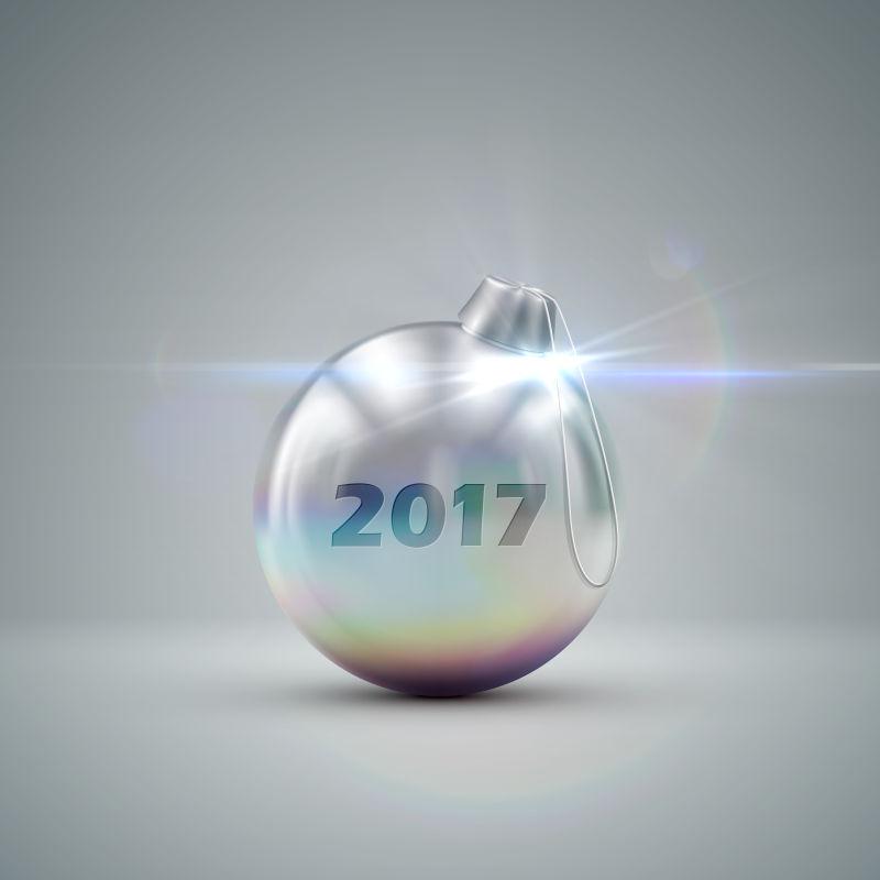 银色的圣诞彩球