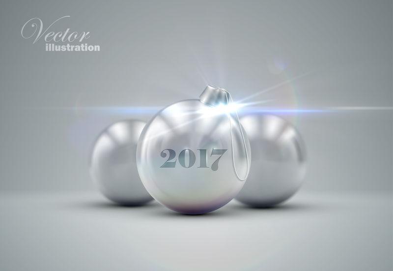 三个银色球形圣诞球