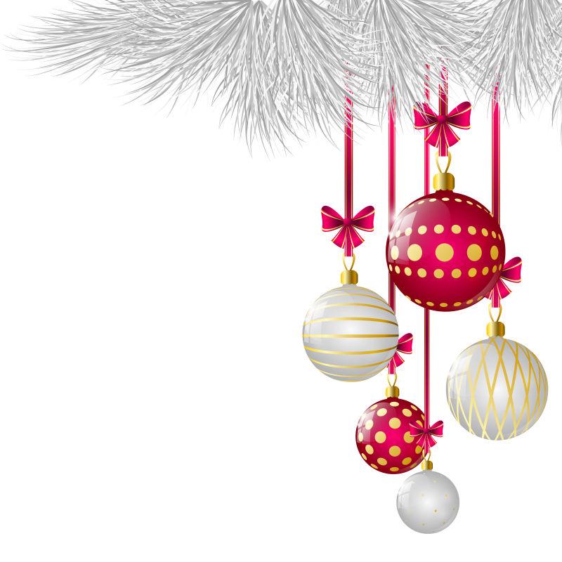 悬挂在树上的圣诞球矢量