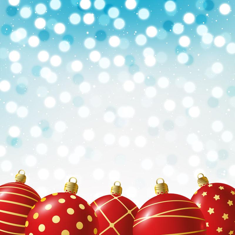 蓝色背景下的圣诞球矢量
