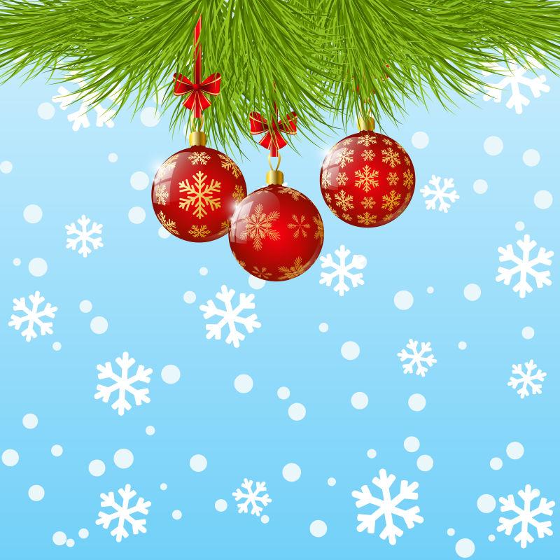 绿色松叶下的圣诞彩球矢量