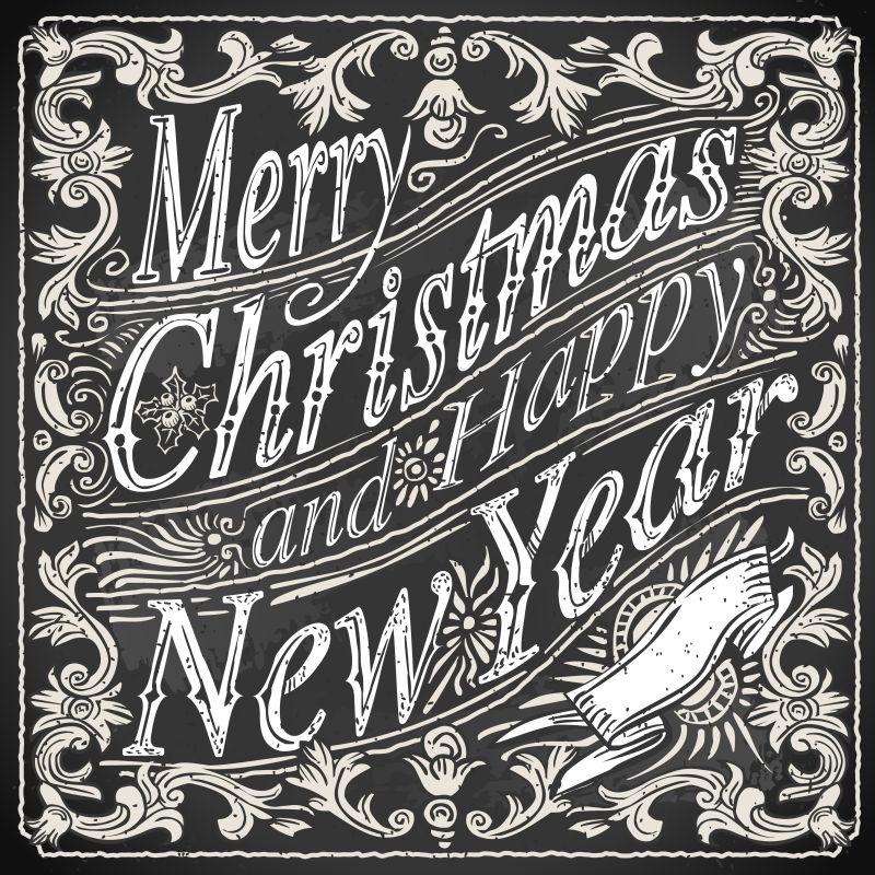 矢量复古圣诞快乐粉笔字
