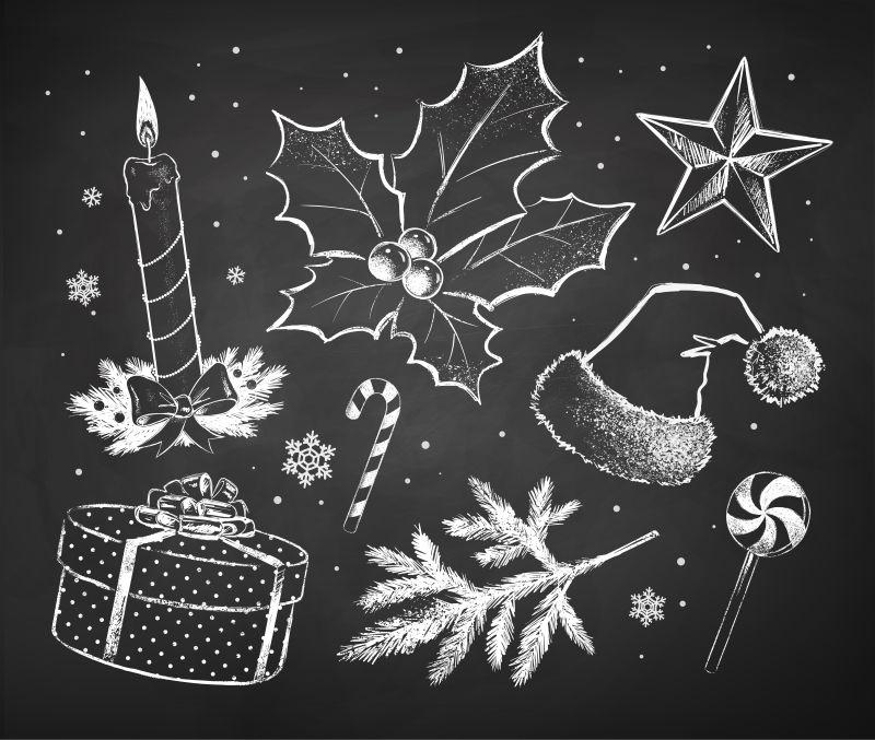 矢量圣诞装饰物粉笔画